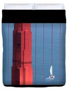 Barcode Of The Bay Scanned With Sails On A Beautiful Day Duvet Cover