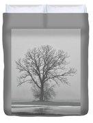 Bare Tree In Fog Duvet Cover