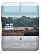 Barge On Tennessee River At Shiloh National Military Park Duvet Cover