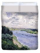 Barges On The Seine Duvet Cover