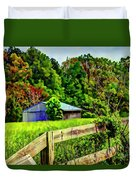 Barn And Fence In Tall Grass Duvet Cover