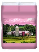 Barn And Silo With Infrared Touch Of Pink Effect Duvet Cover