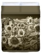 Barn And Sunflowers In Sepia Tone Duvet Cover