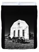 Barn And Tractor In Black And White Duvet Cover