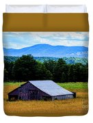 Barn Below Trees And Mountains Duvet Cover