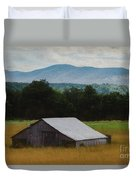 Barn Below Trees And Mountains In Artistic Version Duvet Cover