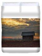 Barn House On The Burning Field Duvet Cover