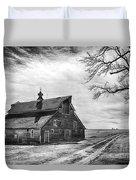Barn In Black And White Duvet Cover
