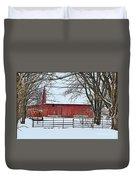 Barn In The Winter Duvet Cover