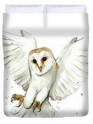 Barn Owl Flying Watercolor Duvet Cover by Olga Shvartsur
