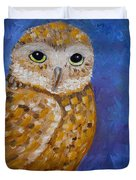 Barn Owl- Impressionism- Owl By Night Duvet Cover