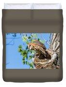 Barn Owl Owlet Climbs Out Of Nest Duvet Cover