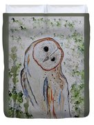 Barn Own Impressionistic Painting Duvet Cover