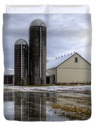 Barn Reflection After A Snowstorm Duvet Cover