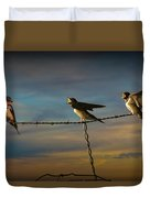 Barn Swallows On Barbwire Fence Duvet Cover