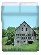 Barn With Chickens In Window Duvet Cover