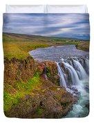 Barnafossar Waterfalls Duvet Cover