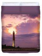 Barnegat Lighthouse Stormy Sunset Duvet Cover