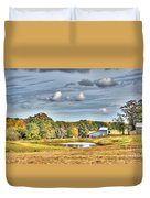 Barns And Pond On A Fall Day Duvet Cover