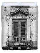 Baroque Balcony Window. Messina, Sicily.    Black And White Duvet Cover