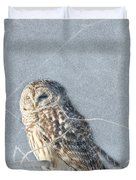Barred Owl In The Snowstorm Duvet Cover