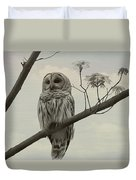 Barred Owl On A Tree Duvet Cover