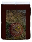 Barrel Cactus Top View Duvet Cover