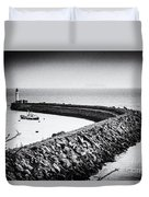 Barry Island Breakwater Film Noir Duvet Cover