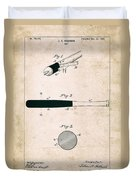 Baseball Bat - Patent Drawing For The 1902 John Hillerich Basebal Bat Duvet Cover