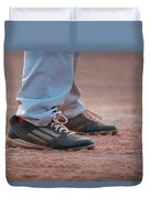 Baseball Cleats In The Dirt Duvet Cover by Kelly Hazel