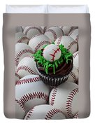 Baseball Cupcake Duvet Cover by Garry Gay