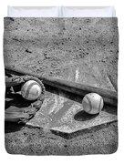 Baseball Game In Black And White Duvet Cover