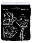 Baseball Glove Patent 1910 In Black Duvet Cover