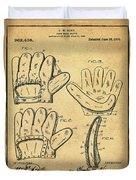 Baseball Glove Patent 1910 Sepia With Border Duvet Cover