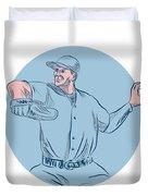 Baseball Pitcher Throwing Ball Circle Drawing Duvet Cover