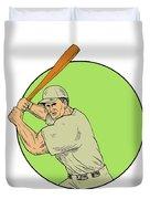 Baseball Player Batting Stance Circle Drawing Duvet Cover