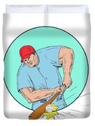 Baseball Player Hitting A Homerun Drawing Duvet Cover