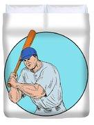 Baseball Player Holding Bat Drawing Duvet Cover