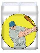 Baseball Player Swinging Bat Drawing Duvet Cover