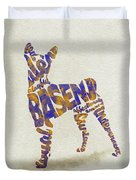 Basenji Dog Watercolor Painting / Typographic Art Duvet Cover