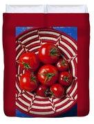 Basket Full Of Red Tomatoes  Duvet Cover