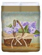 Basket Of Lilacs Duvet Cover