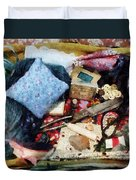 Basket Of Sewing Supplies Duvet Cover