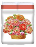 Basket With Ranunculus Flowers Watercolor Duvet Cover