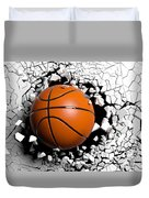 Basketball Ball Breaking Forcibly Through A White Wall. 3d Illustration. Duvet Cover