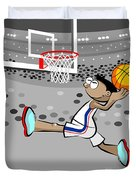 Basketball Player Jumping And Flying To Shoot The Ball In The Hoop Duvet Cover
