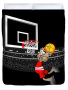 Basketball Player Jumping In The Stadium And Flying To Shoot The Ball In The Hoop Duvet Cover