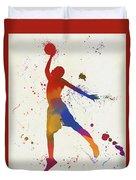 Basketball Player Paint Splatter Duvet Cover
