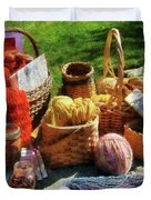 Baskets Of Yarn At Flea Market Duvet Cover