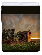 Basking In The Glow - Old Barn At Sunset In Oklahoma Panhandle Duvet Cover